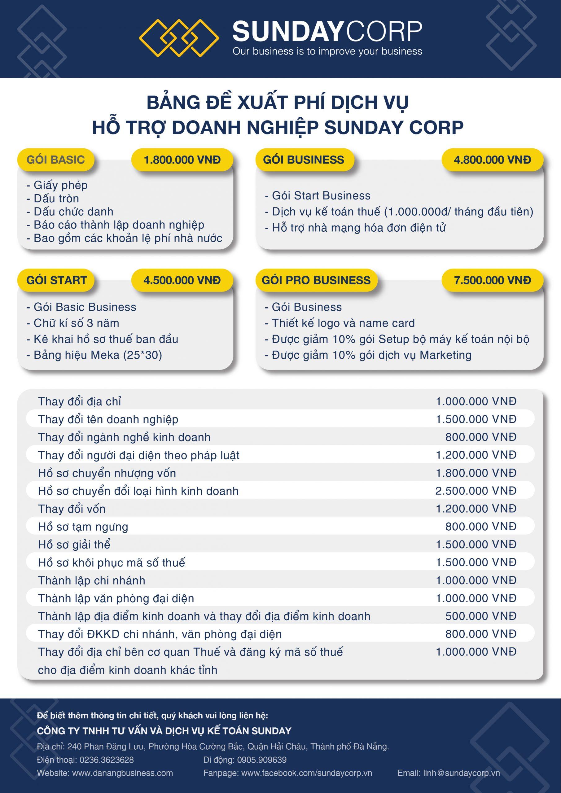 Bảng giá dịch vụ hỗ trợ doanh nghiệp tại Sunday Corp