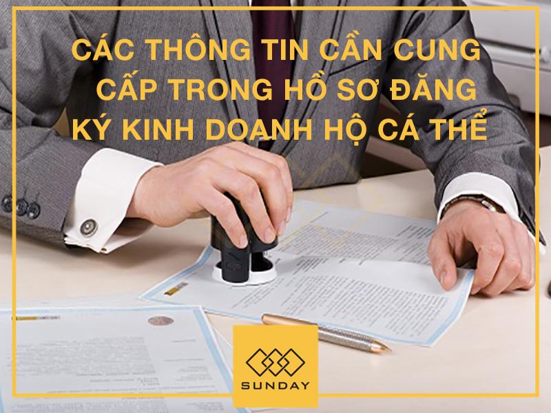 Các thông tin cần cung cấp trong hồ sơ đăng ký kinh doanh